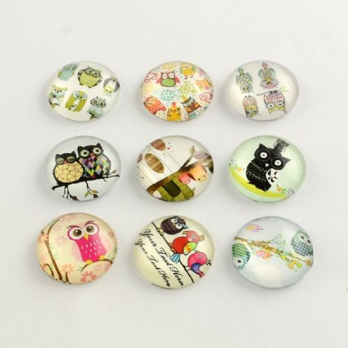 Cartoon Owl Flatback Dome Glass Cabochon (25x6mm) (single)